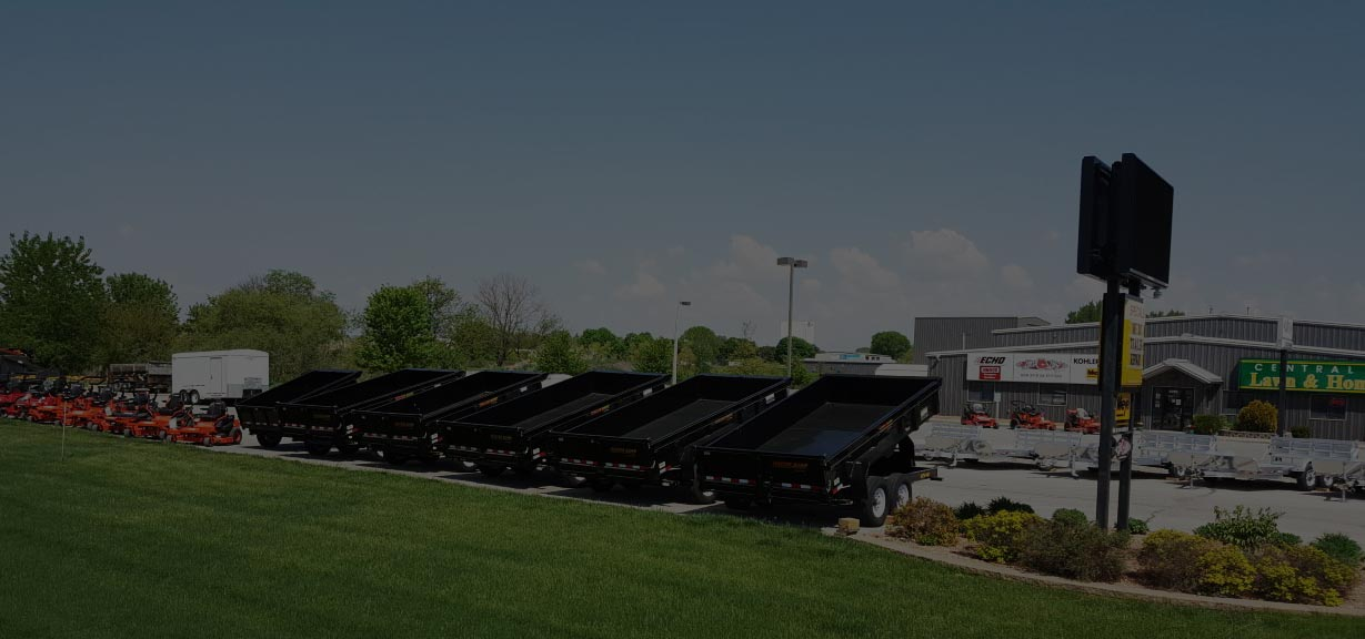 Central Iowa Lawn & Home Care Parking Lot with Trailers on Display